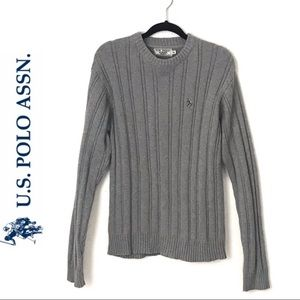 US Polo Assn Grey Knit Sweater